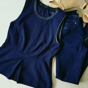Madewell Navy Blue Peplum With Leather Top